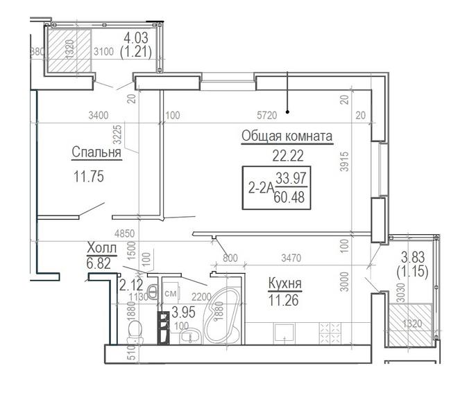 ЖК Ярославский: планировка 2-комнатной квартиры 60.48 м2, тип 2-60.48