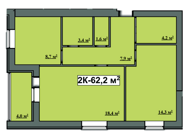 ЖК Сімейний: планування 2-кімнатної квартири 62.2 м2, тип 2-62.2