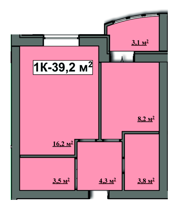 ЖК Семейный: планировка 1-комнатной квартиры 39.2 м2, тип 1-39.2