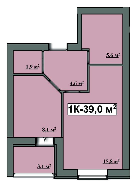 ЖК Сімейний: планування 1-кімнатної квартири 39 м2, тип 1-39