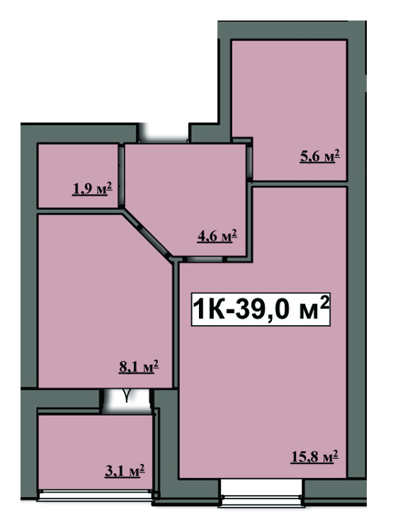 ЖК Семейный: планировка 1-комнатной квартиры 39 м2, тип 1-39