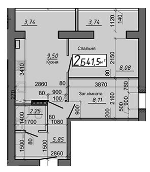 ЖК Яснополянский: планировка 2-комнатной квартиры 41.5 м2, тип 2Б