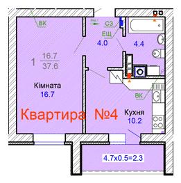 вул. Садова, 45а: планування 1-кімнатної квартири 37.6 м2, тип 1-37.6