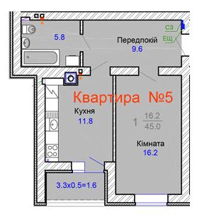 ул. Садовая, 45а: планировка 1-комнатной квартиры 45 м2, тип 1-45