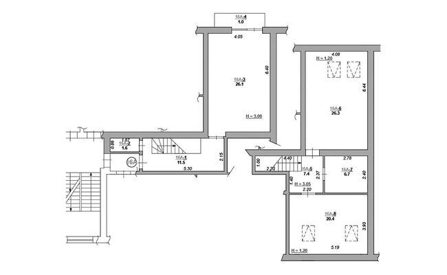 ЖК Каменецкий: планировка двухуровневой квартиры 101 м2, тип 2-101.0
