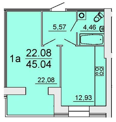 ЖК Славянский: планировка 1-комнатной квартиры 45.04 м2, тип 1а