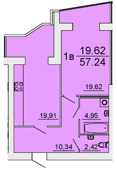 ЖК Славянский: планировка 1-комнатной квартиры 57.24 м2, тип 1в