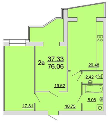 ЖК Славянский: планировка 2-комнатной квартиры 76.06 м2, тип 2а