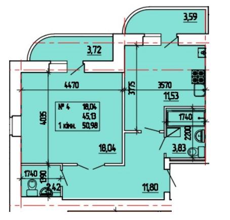 ул. Степана Тимошенко (Якира), 7а: планировка 1-комнатной квартиры 50.98 м2, тип 1-50.98