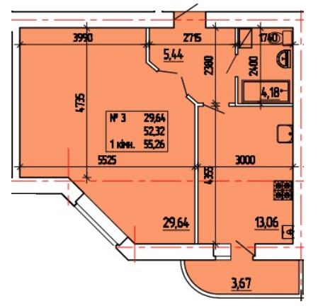 ул. Степана Тимошенко (Якира), 7а: планировка 1-комнатной квартиры 55.26 м2, тип 1-55.26