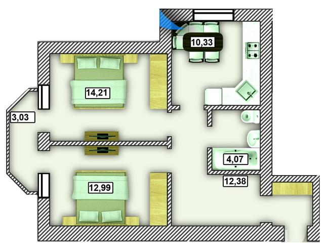 ЖК Гнатовский: планировка 2-комнатной квартиры 54.89 м2, тип 2-54.89