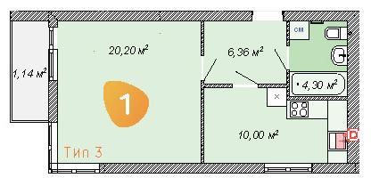 ЖК Club House: планування 1-кімнатної квартири 42 м2, тип 1-42