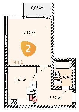 ЖК Club House: планування 1-кімнатної квартири 41 м2, тип 1-41