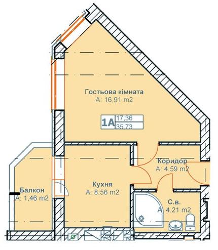 ЖК Родинний: планування 1-кімнатної квартири 35.73 м2, тип 1А