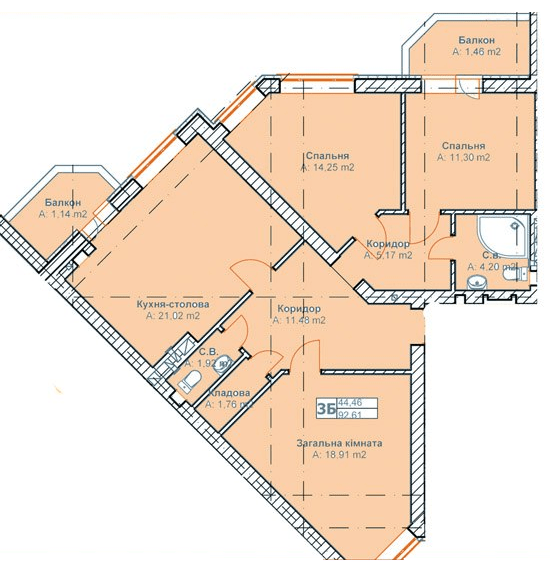 ЖК Родинний: планування 3-кімнатної квартири 92.61 м2, тип 3Б