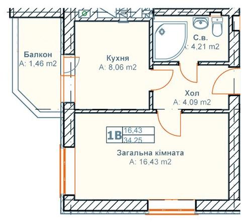 ЖК Родинний: планировка 1-комнатной квартиры 34.25 м2, тип 1В