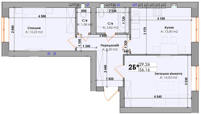 ЖК Элемент: планировка 2-комнатной квартиры 56.16 м2, тип 2Б*