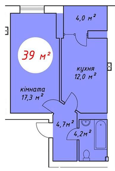 ЖК Дубовий Гай: планування 1-кімнатної квартири 39 м2, тип 1-39