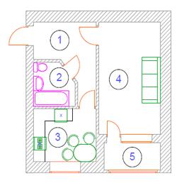 вул. Миколи Хвильового, 1: планування 1-кімнатної квартири 37.6 м2, тип 1-37.6