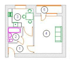 вул. Миколи Хвильового, 1: планування 1-кімнатної квартири 43.9 м2, тип 1-43.9