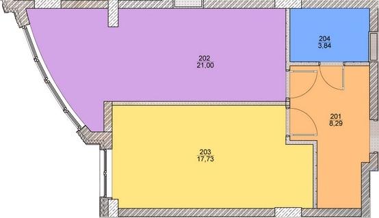ЖК Оболонский бриз: планировка 1-комнатной квартиры 50.8 м2, тип 1-50.8