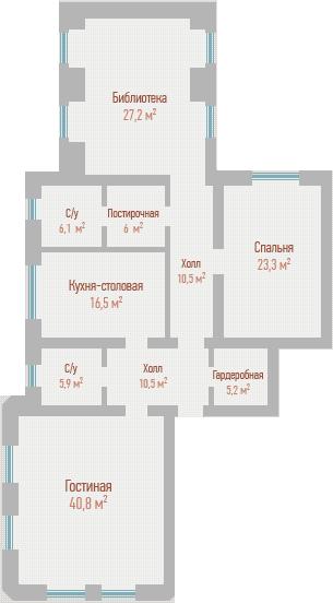 ЖК Воздвиженка: планировка 3-комнатной квартиры 152 м2, тип 3-152.0
