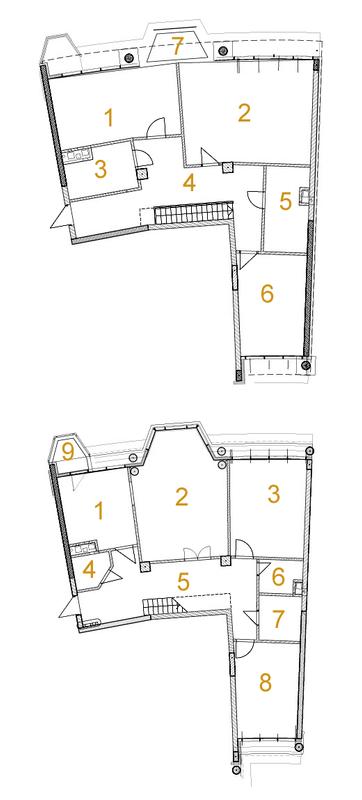 ЖК Сонячна брама: планировка двухуровневой квартиры 220.9 м2, тип 6-220.9