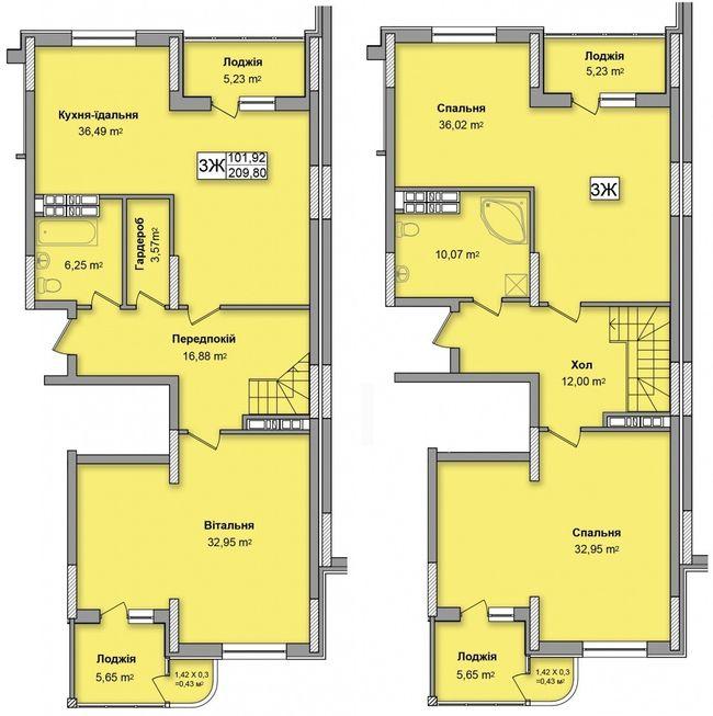 ЖК на Кондратюка: планування дворівневої квартири 209.8 м2, тип 3Ж