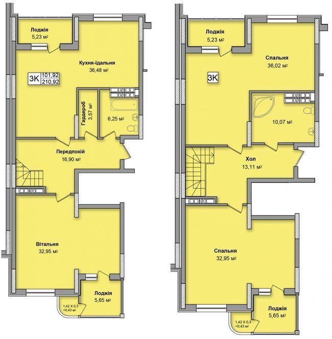 ЖК на Кондратюка: планування дворівневої квартири 210.92 м2, тип 3К