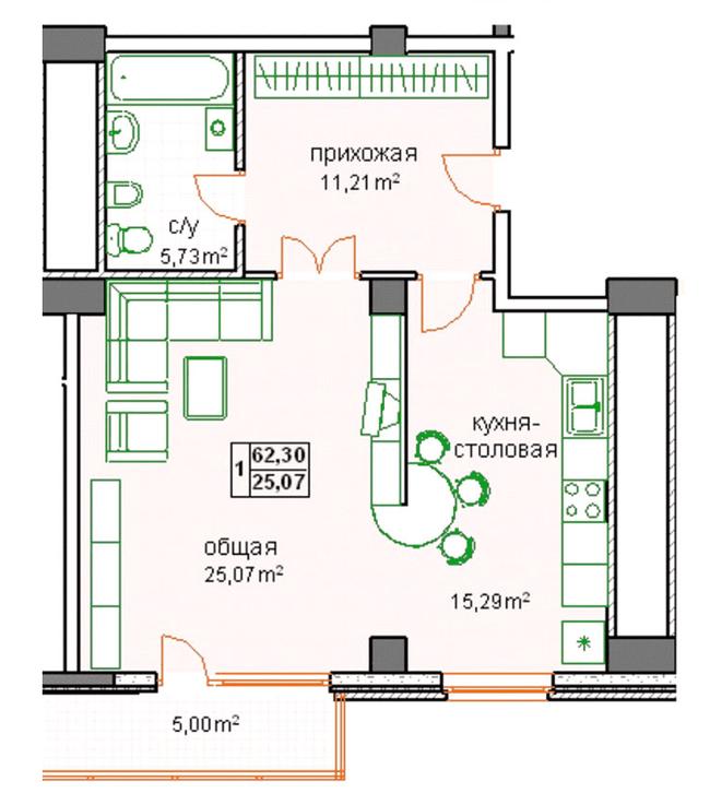 ЖК Победа: планировка 1-комнатной квартиры 62.3 м2, тип 1-62.30