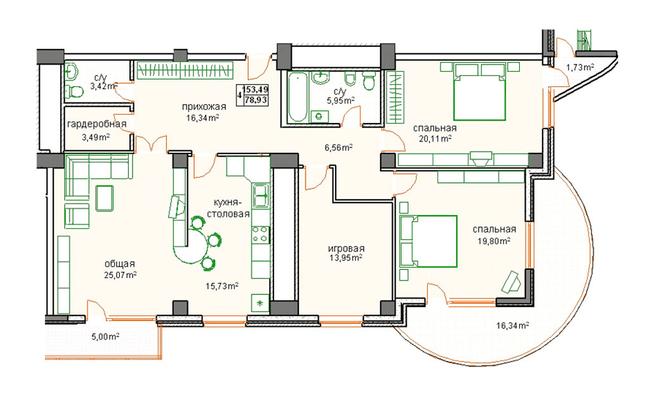 ЖК Победа: планировка 4-комнатной квартиры 153.49 м2, тип 4-153.49