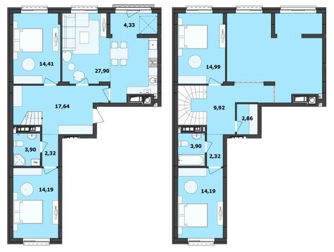 ЖК Семицвіт: планування дворівневої квартири 132.87 м2, тип 4-132.87