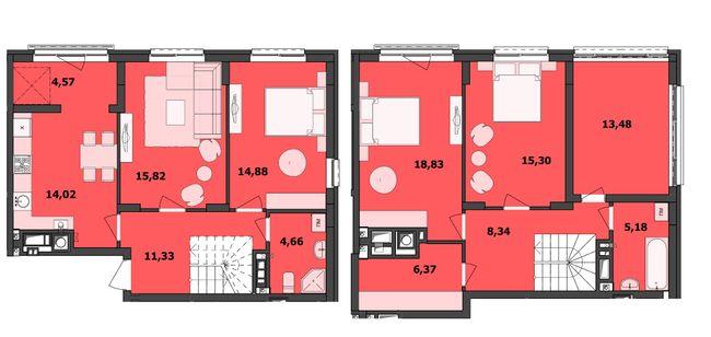 ЖК Семицвіт: планування дворівневої квартири 132.78 м2, тип 4-132.78