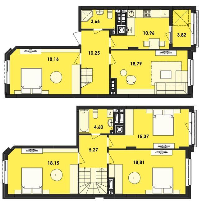 ЖК Семицвіт: планування дворівневої квартири 127.84 м2, тип 4-127.84