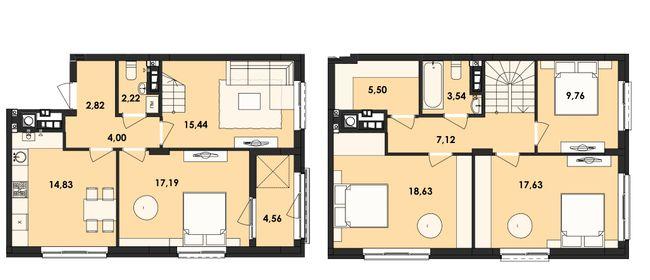 ЖК Семицвіт: планування дворівневої квартири 123.24 м2, тип 4-123.24