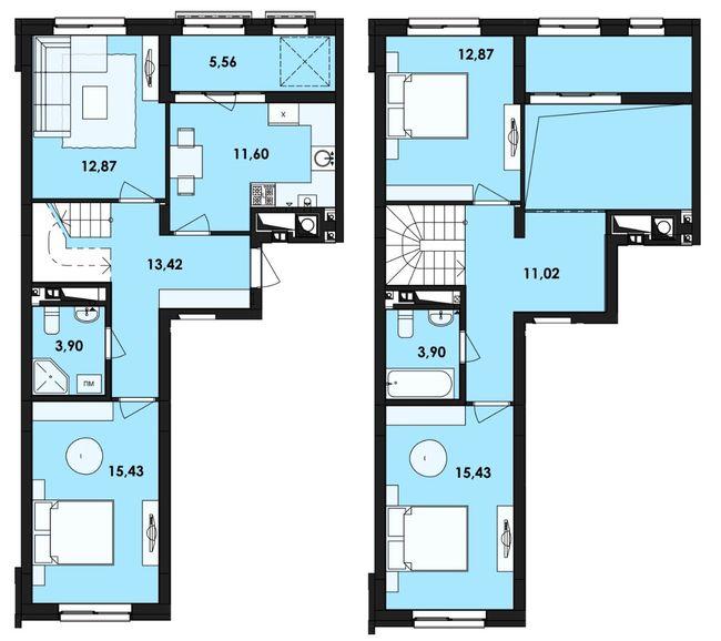 ЖК Семицвіт: планування дворівневої квартири 105.98 м2, тип 4-105.98