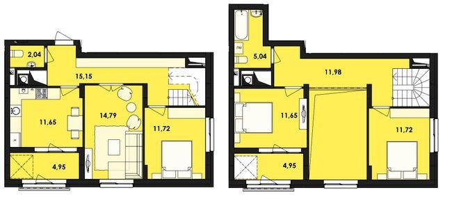 ЖК Семицвіт: планування дворівневої квартири 105.64 м2, тип 4-105.64
