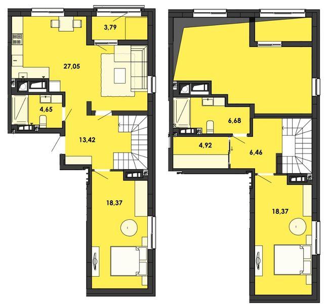 ЖК Семицвіт: планування дворівневої квартири 101.9 м2, тип 2-101.9