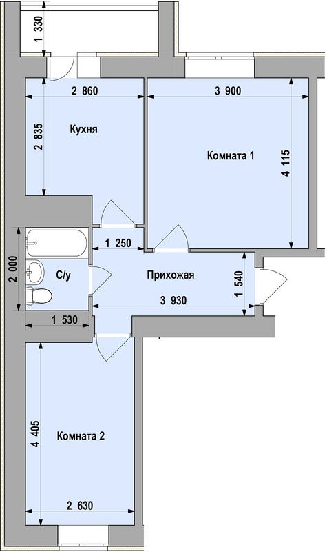 ЖСК Свобода 15: планировка 2-комнатной квартиры 48.46 м2, тип 2-48.46