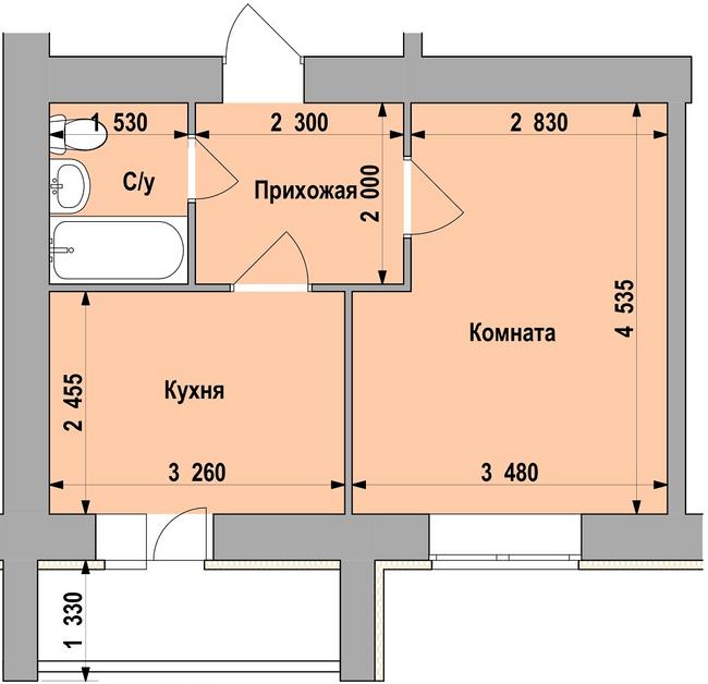 ЖБК Свобода 15: планування 1-кімнатної квартири 30.73 м2, тип 1-30.73