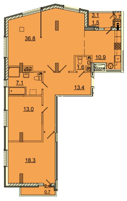ЖК Панорама: планування 3-кімнатної квартири 103.6 м2, тип 3-103.6