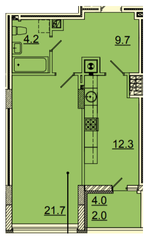 ЖК Панорама: планування 1-кімнатної квартири 49.5 м2, тип 1-49.5