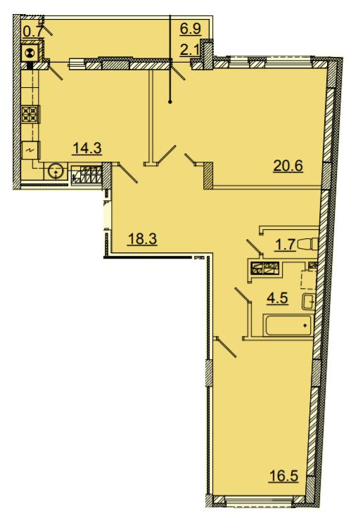 ЖК Панорама: планировка 2-комнатной квартиры 72.8 м2, тип 2-72.8