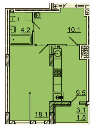 ЖК Панорама: планировка 1-комнатной квартиры 43.4 м2, тип 1-43.4