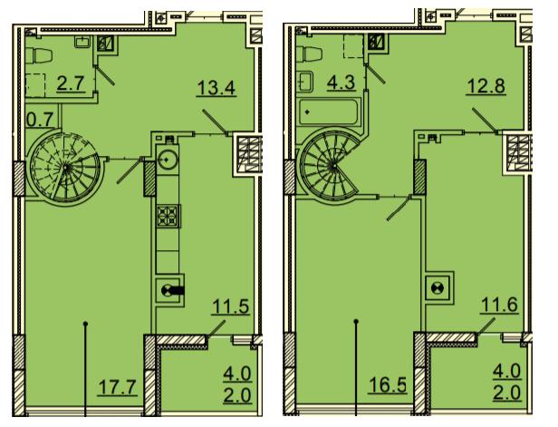 ЖК Панорама: планування дворівневої квартири 95.2 м2, тип 3-95.2