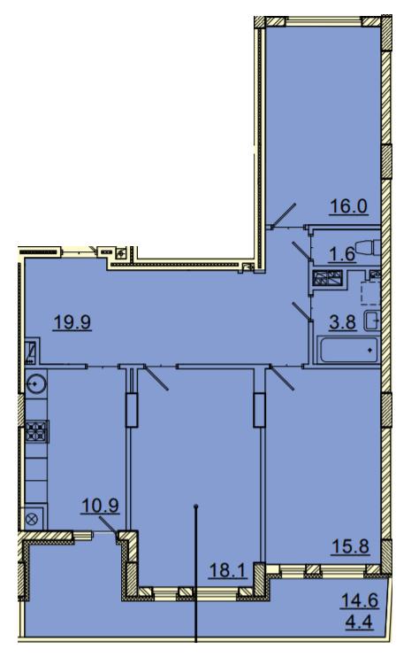 ЖК Панорама: планування 3-кімнатної квартири 90.5 м2, тип 3-90.5