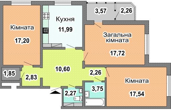 ул. Урловская (стройпл. 4в, Позняки-2): планировка 3-комнатной квартиры 91.55 м2, тип 3-91.55