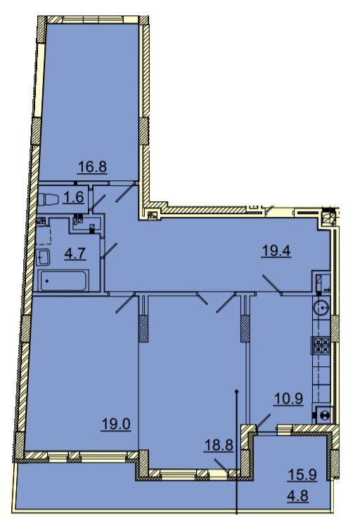 ЖК Панорама: планировка 2-комнатной квартиры 96 м2, тип 2-96