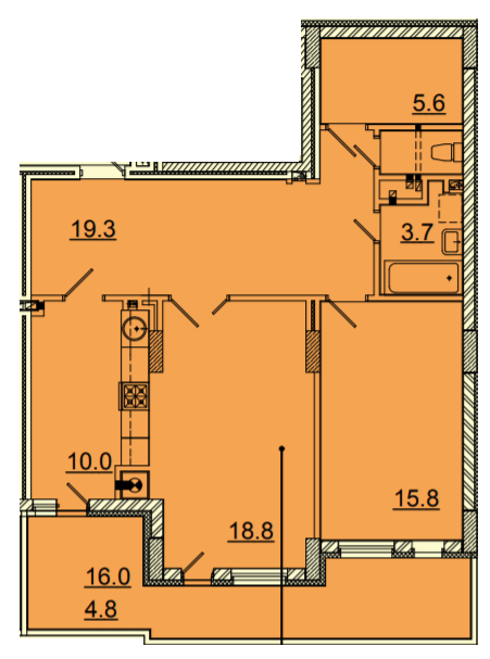 ЖК Панорама: планировка 2-комнатной квартиры 89.3 м2, тип 2-89.3