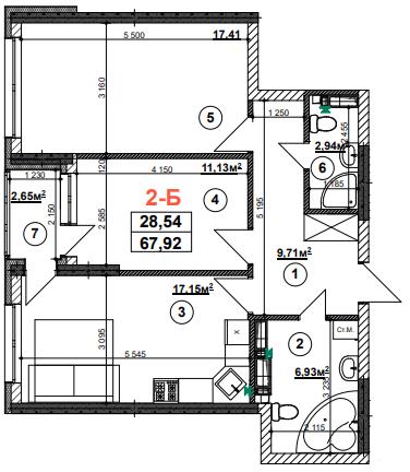 ЖК Урлівський-1: планування 2-кімнатної квартири 67.92 м2, тип 2-Б